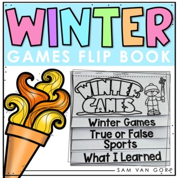 Winter Games 2018 Flip Book PLUS Student Coloring Pages for LOWER ELEMENTARY