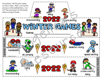 Winter Olympics 2018 Activities Bundle : Literacy, Math, Crowns, and Pennants