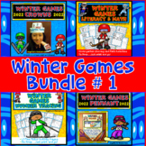 Winter Games 2018 Activities Bundle : Literacy, Math, Crowns, and Pennants