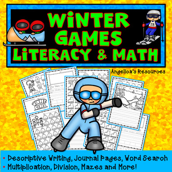 Winter Olympics 2018 : Multiplication, Division, Writing, Mazes, Word Search...