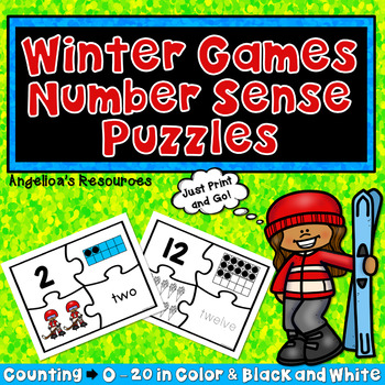 Winter Olympics 2018 : Number Sense Puzzles - Counting & Tracing from 0-20
