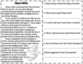 Winter Olympics 2018 Reading Comprehension Passage & Question Sets-Snowboarding