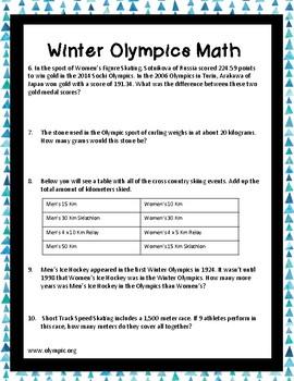 Winter Olympics (2018) Real World Math Printable!