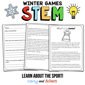 Winter Games Build a Bobsled STEM Activity