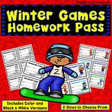 Winter Olympics 2018 : Winter Games Homework Pass - Incentive Reward Coupon