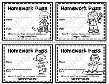 Winter Olympics 2018 : Winter Games Homework Pass - Incentive Reward Coupon