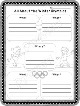 Winter Olympics 5 W's Activity for Primary