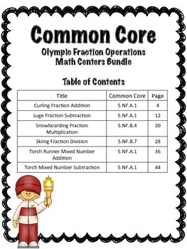 Winter Sports Fraction Operations Math Centers Bundle (Common Core )