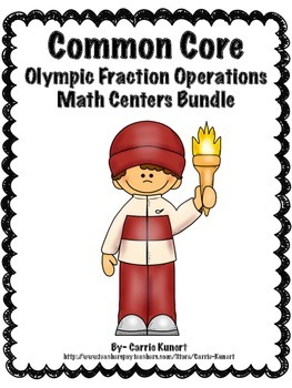 Winter Sports Fraction Operations Math Centers Bundle (Com