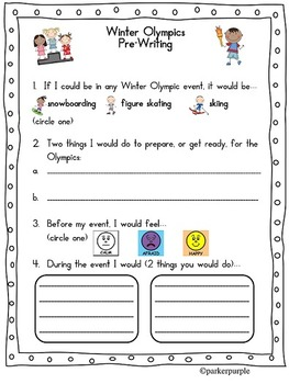 Winter Olympics Activities first, second, third grade