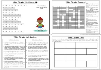Winter Olympics Activity Book For Middle To Upper Primary/Elementary Students!