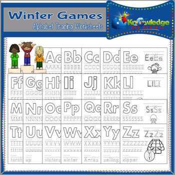 Winter Games Alphabet Tracing Worksheets