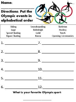 Winter Olympics Alphabetical Order