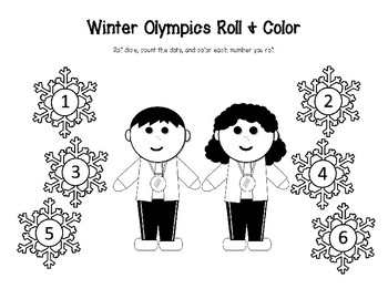 Winter Olympics Athletes Roll & Color and Roll & Cover Dice Activities for Math