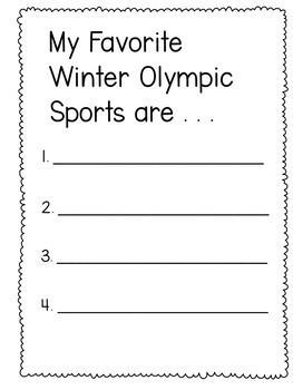 FREE Winter Olympics Booklet Grade 1-2