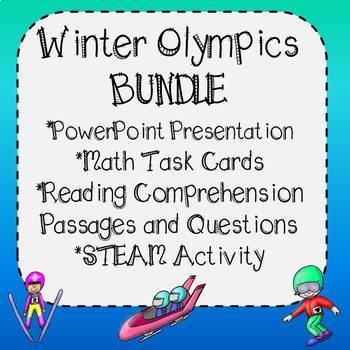 Winter Olympics Bundle - PowerPoint, STEAM, Math Task Cards & Reading Passages