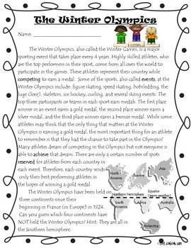 Winter Olympics Common Core Informational Reading Text and Questions-2nd