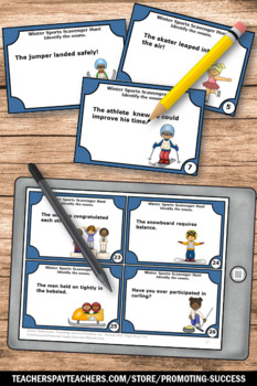 Noun Task Cards, Winter Activities, Winter Olympics, Parts of Speech Review