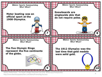 Summarizing Task Cards, Winter Olympics, Wh Questions for Speech Therapy