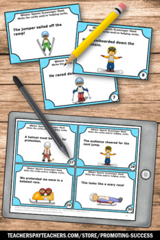 Helping Verbs Task Cards, Winter Activities, Parts of Speech Review Games