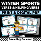 Helping Verbs Task Cards, Winter Literacy Centers, Sports Theme