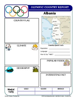 Winter Olympics Country Report Template Set by Science Teacher Pro