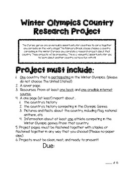 Winter Olympics Country Research Project