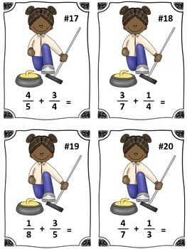 Winter Sports Curling Fraction Addition Math Center (Common Core)