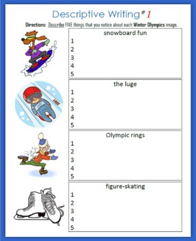 winter olympics descriptive writing by the gifted writer tpt winter olympics descriptive writing