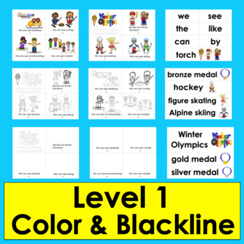 Winter Sports 2018 Mini Books Differentiated -3 Levels+ Olympic Word Wall w/pics