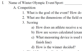 Winter Olympics Event Research Project Outline