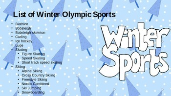 Winter Olympics Events Power Point