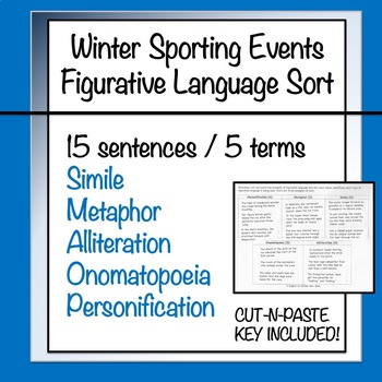 Winter Sporting Events: Figurative Language Sorting Activity