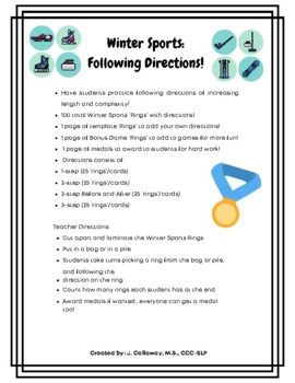 Winter Olympics ~ Following Directions!