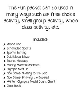 Winter Olympics Fun Packet