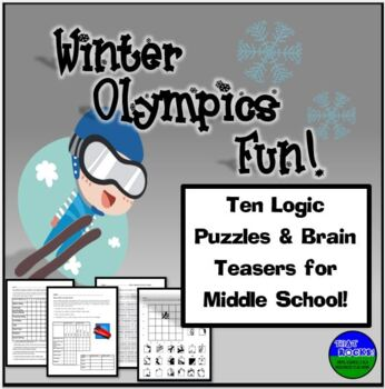 Winter Olympics Fun- Six Logic Puzzles and Brain Teasers for Middle School
