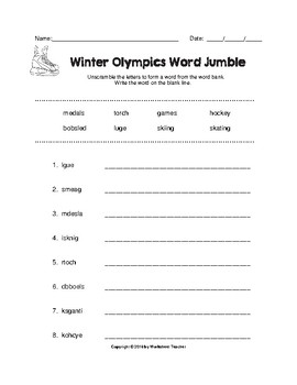 Winter Olympics Fun Worksheet Pack (K-2)
