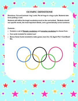 Winter Olympics ~ Go For the Gold Language Packet!