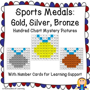 Winter Olympics Hundred Chart Mystery Pictures: Gold, Silver, and Bronze Medals