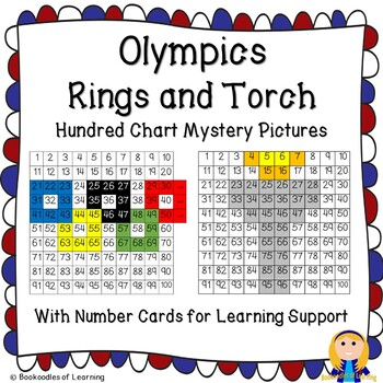 Winter Olympics Hundred Chart Mystery Pictures: Olympic Rings and Torch