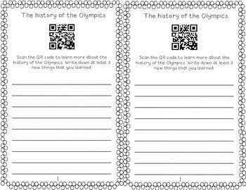 Winter Olympics Interactive Text with QR codes