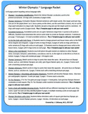 Winter Olympics ~ Language Packet #2!