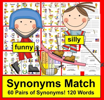 Winter Olympic Literacy Center Activities:  Synonyms Match! - 60 Pairs