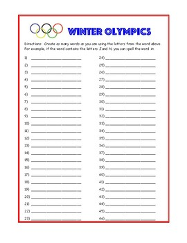 Winter Olympics Making Words / Working with Words ELA Activity