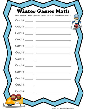 2018 Winter Olympics - Math Task Cards *Updated