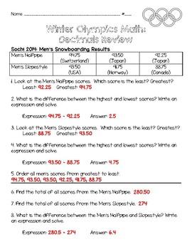 Winter Olympics Math: Decimals Review