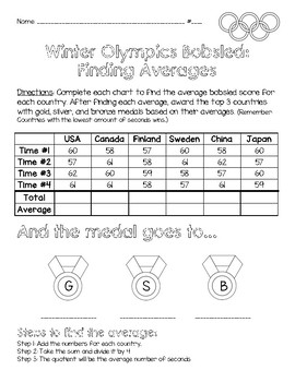 Winter Olympics Math: Finding Averages