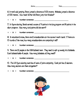 Winter Olympics Math Word Problems