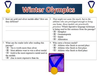 Winter Olympics Math and ELA Worksheet Packet with Keys