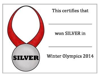Winter Olympics Medal Certificates